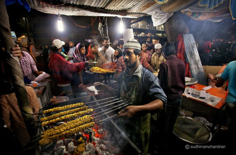 A shop selling delicious seekh kebabs on Mosque Road in Frazer Town during Ramadan by photographer Sudhir Ramchandran